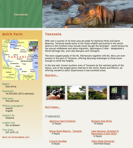 Africa on Safari Country Page