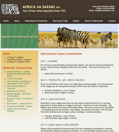 Africa on Safari Itinerary Page