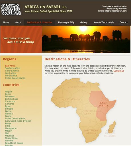 Africa on Safari Destinations Page